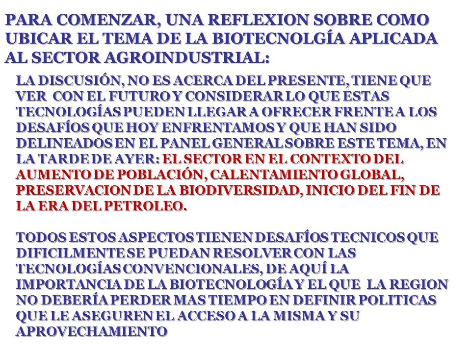 PARA COMENZAR, UNA REFLEXION SOBRE COMO UBICAR EL TEMA DE LA BIOTECNOLGÍA APLICADA AL SECTOR AGROINDUSTRIAL: LA DISCUSIÓN, NO ES ACERCA DEL PRESENTE, TIENE QUE VER CON EL FUTURO Y CONSIDERAR LO QUE ESTAS TECNOLOGÍAS PUEDEN LLEGAR A OFRECER FRENTE A LOS DESAFÍOS QUE HOY ENFRENTAMOS Y QUE HAN SIDO DELINEADOS EN EL PANEL GENERAL SOBRE ESTE TEMA, EN LA TARDE DE AYER: EL SECTOR EN EL CONTEXTO DEL AUMENTO DE POBLACIÓN, CALENTAMIENTO GLOBAL, PRESERVACION DE LA BIODIVERSIDAD, INICIO DEL FIN DE LA ERA DEL PETROLEO.