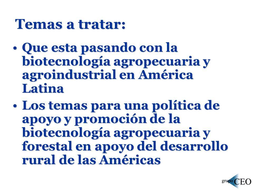 Temas a tratar: Que esta pasando con la biotecnología agropecuaria y agroindustrial en América LatinaQue esta pasando con la biotecnología agropecuaria y agroindustrial en América Latina Los temas para una política de apoyo y promoción de la biotecnología agropecuaria y forestal en apoyo del desarrollo rural de las AméricasLos temas para una política de apoyo y promoción de la biotecnología agropecuaria y forestal en apoyo del desarrollo rural de las Américas