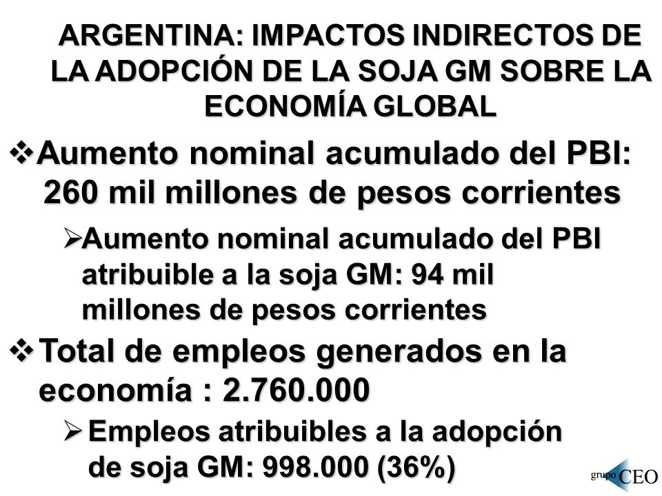 ARGENTINA: IMPACTOS INDIRECTOS DE LA ADOPCIÓN DE LA SOJA GM SOBRE LA ECONOMÍA GLOBAL Aumento nominal acumulado del PBI: Aumento nominal acumulado del