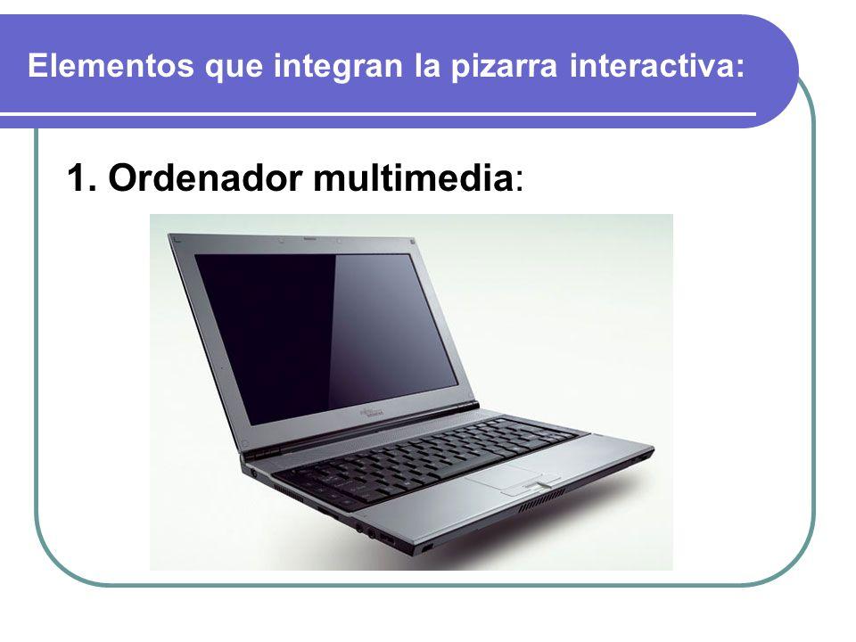 Elementos que integran la pizarra interactiva: 1. Ordenador multimedia:
