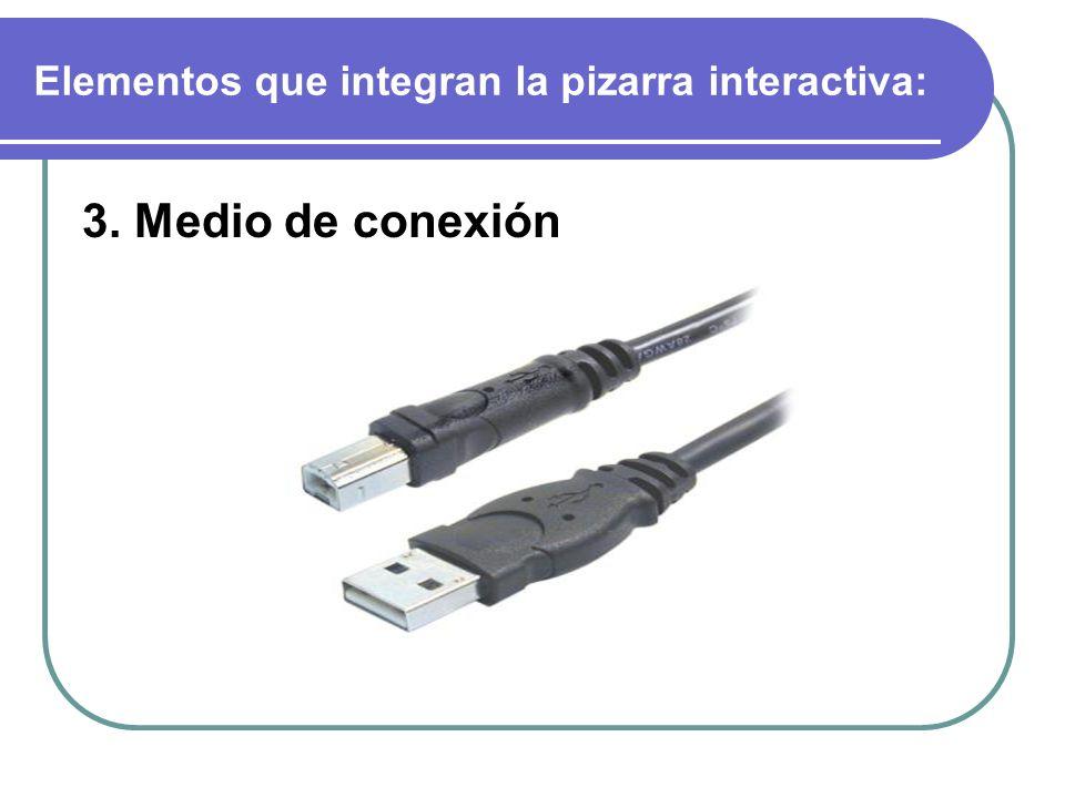 Elementos que integran la pizarra interactiva: 3. Medio de conexión