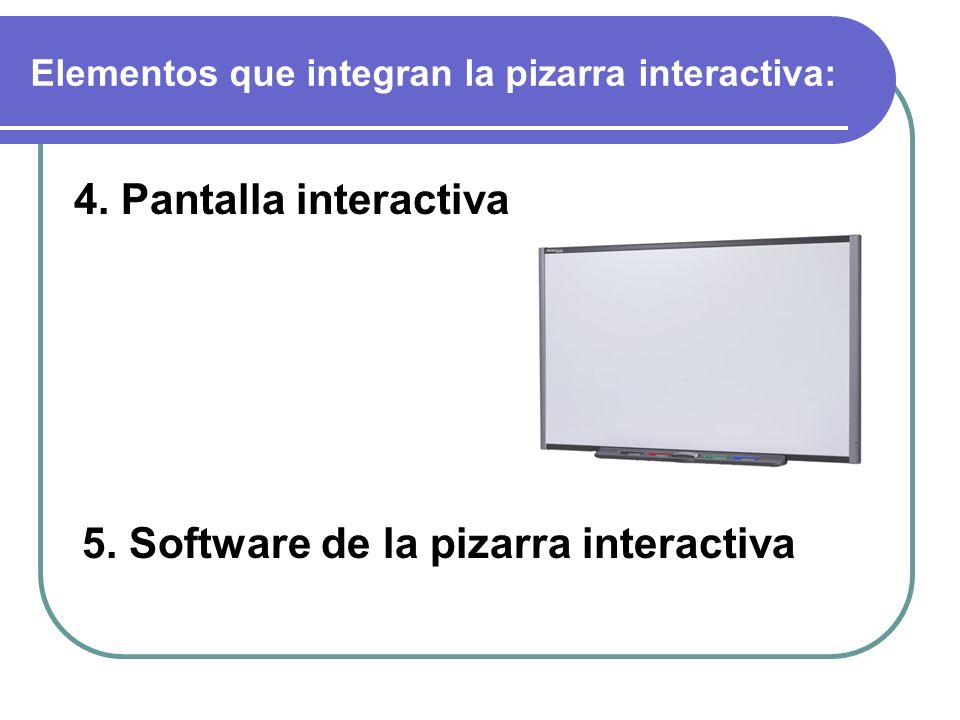 Elementos que integran la pizarra interactiva: 4. Pantalla interactiva 5.