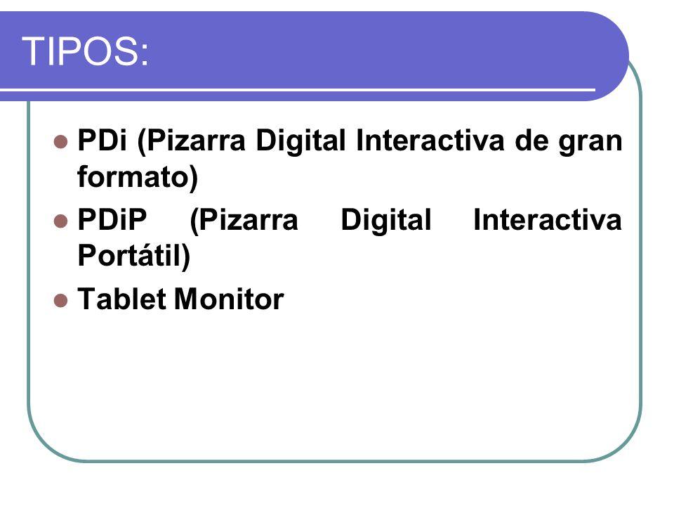 TIPOS: PDi (Pizarra Digital Interactiva de gran formato) PDiP (Pizarra Digital Interactiva Portátil) Tablet Monitor