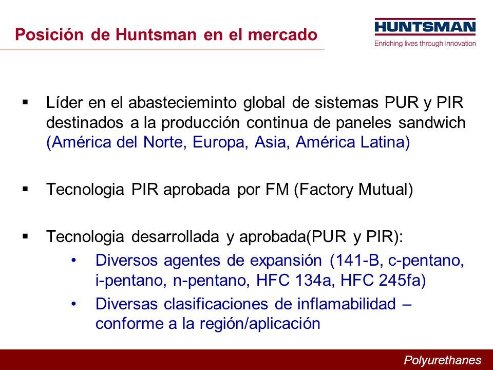 Polyurethanes Posición de Huntsman en el mercado Líder en el abastecieminto global de sistemas PUR y PIR destinados a la producción continua de paneles sandwich (América del Norte, Europa, Asia, América Latina) Tecnologia PIR aprobada por FM (Factory Mutual) Tecnologia desarrollada y aprobada(PUR y PIR): Diversos agentes de expansión (141-B, c-pentano, i-pentano, n-pentano, HFC 134a, HFC 245fa) Diversas clasificaciones de inflamabilidad – conforme a la región/aplicación