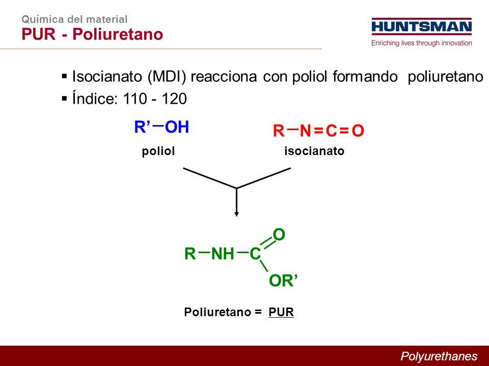 Polyurethanes Química del material PUR - Poliuretano Isocianato (MDI) reacciona con poliol formando poliuretano Índice: 110 - 120 RN = C = ON = C = O ROH poliolisocianato RNHC OR O Poliuretano = PUR