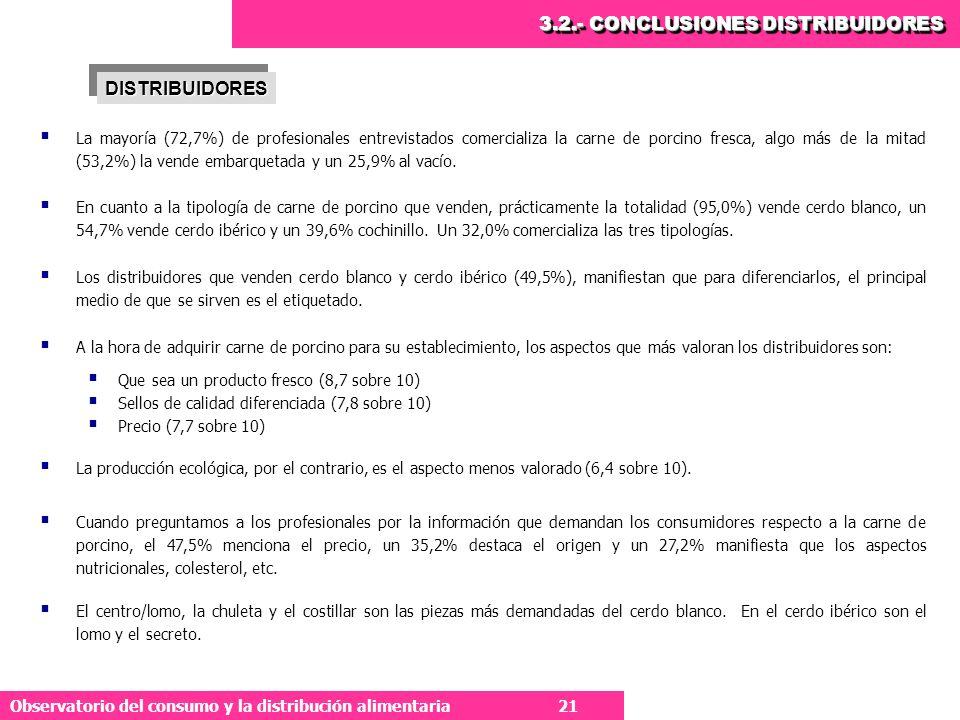 21 Observatorio del consumo y la distribución alimentaria 21 La mayoría (72,7%) de profesionales entrevistados comercializa la carne de porcino fresca, algo más de la mitad (53,2%) la vende embarquetada y un 25,9% al vacío.