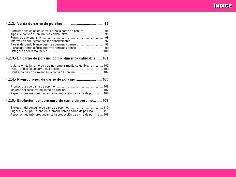 94 Observatorio del consumo y la distribución alimentaria 94 ¿En qué formatos/tipologías comercializa la carne de porcino en su establecimiento.