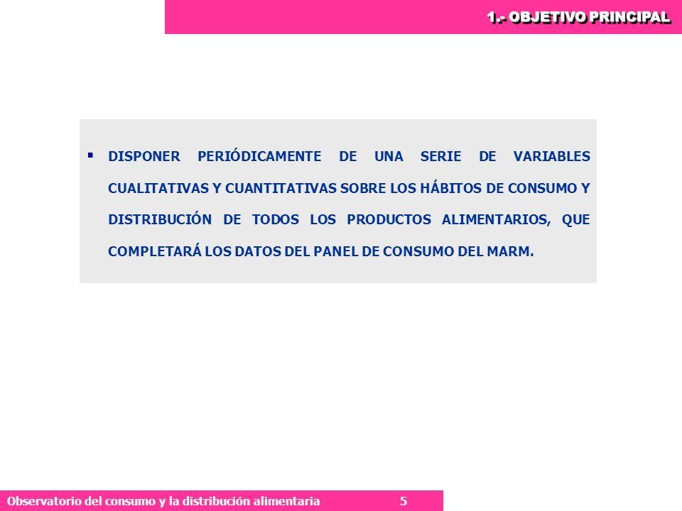 5 Observatorio del consumo y la distribución alimentaria 5 1.- OBJETIVO PRINCIPAL DISPONER PERIÓDICAMENTE DE UNA SERIE DE VARIABLES CUALITATIVAS Y CUANTITATIVAS SOBRE LOS HÁBITOS DE CONSUMO Y DISTRIBUCIÓN DE TODOS LOS PRODUCTOS ALIMENTARIOS, QUE COMPLETARÁ LOS DATOS DEL PANEL DE CONSUMO DEL MARM.