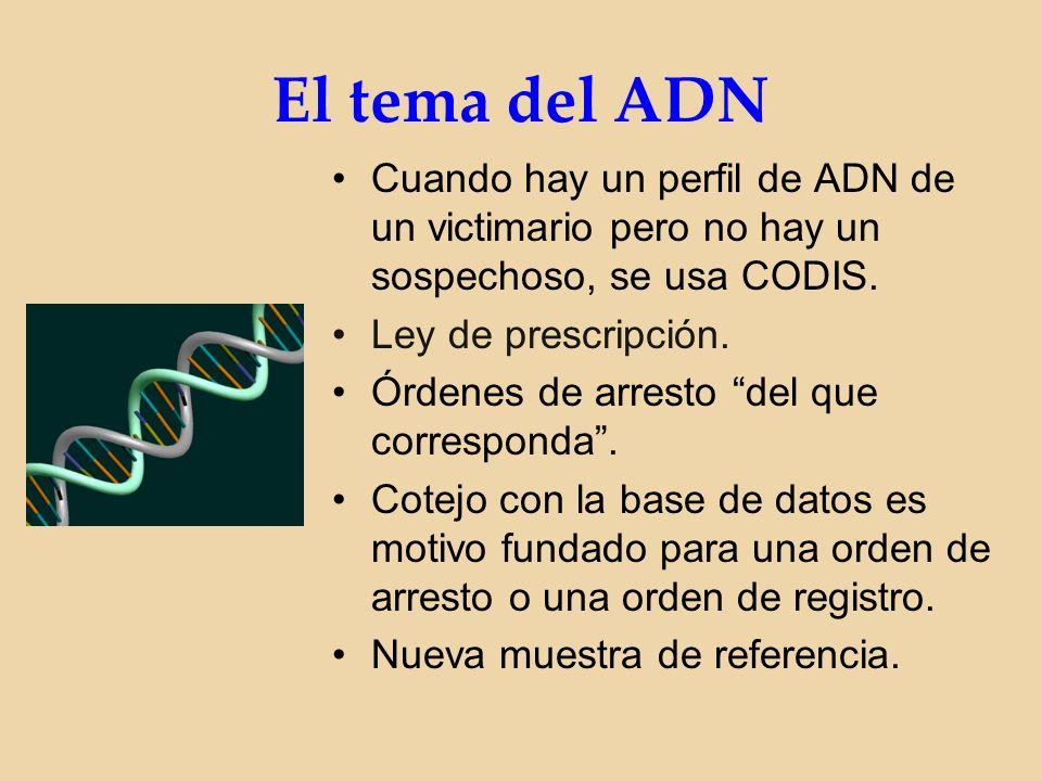 El tema del ADN Cuando hay un perfil de ADN de un victimario pero no hay un sospechoso, se usa CODIS.