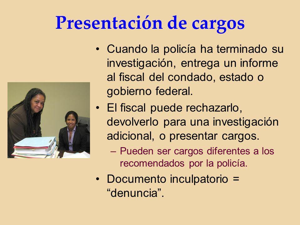 Presentación de cargos Cuando la policía ha terminado su investigación, entrega un informe al fiscal del condado, estado o gobierno federal.