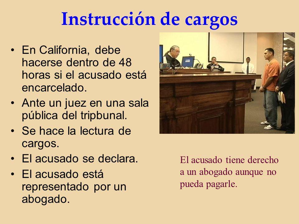 Instrucción de cargos En California, debe hacerse dentro de 48 horas si el acusado está encarcelado.