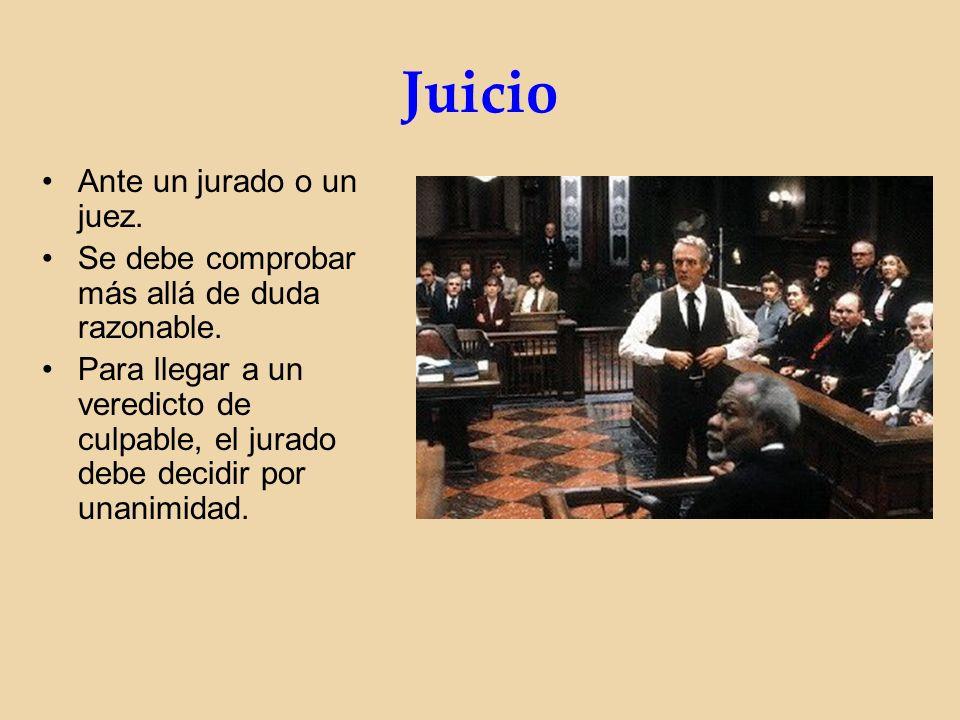 Juicio Ante un jurado o un juez. Se debe comprobar más allá de duda razonable.
