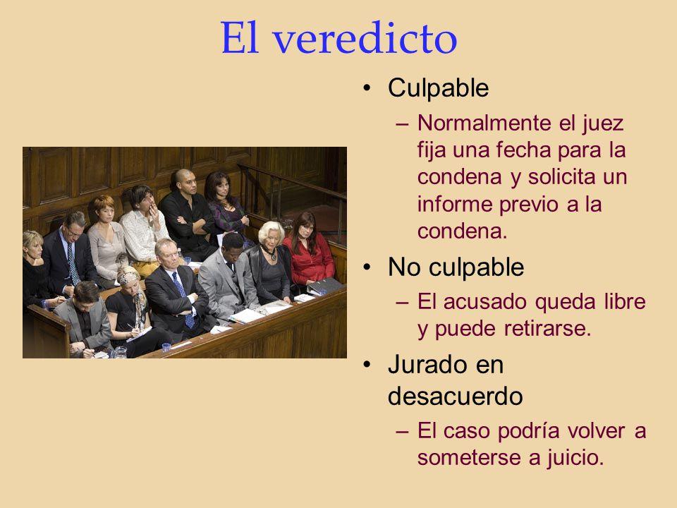 El veredicto Culpable –Normalmente el juez fija una fecha para la condena y solicita un informe previo a la condena.