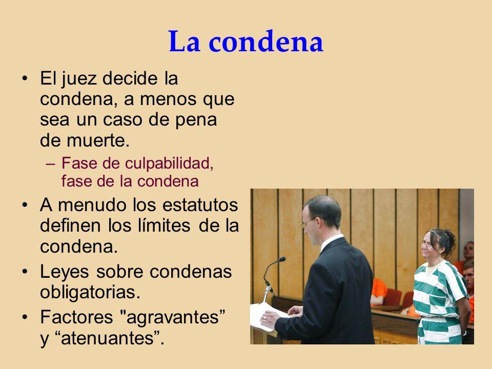 La condena El juez decide la condena, a menos que sea un caso de pena de muerte.