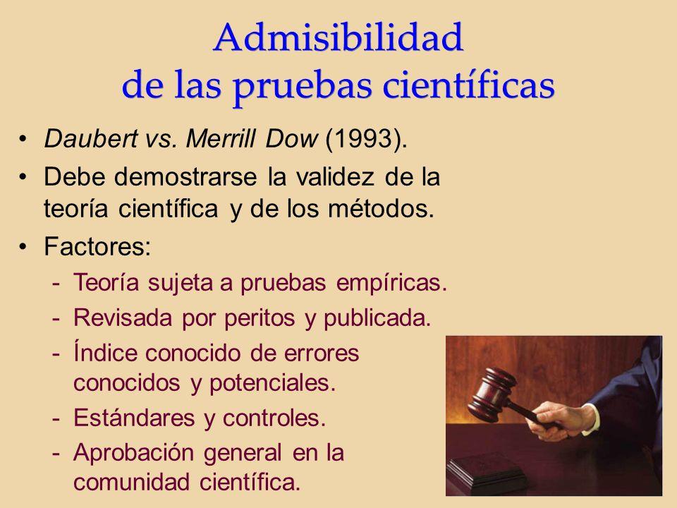 Admisibilidad de las pruebas científicas Admisibilidad de las pruebas científicas Daubert vs.