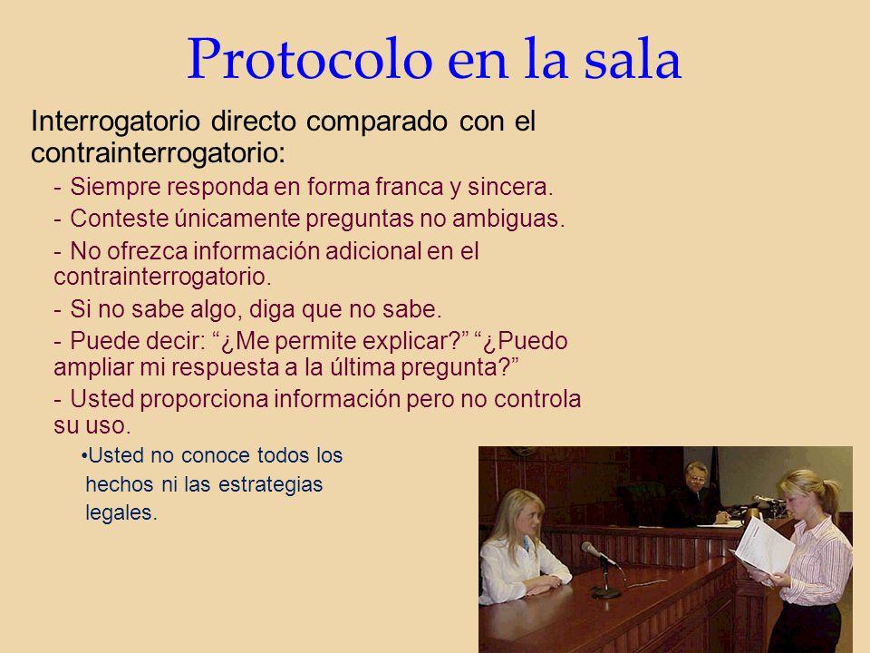 Protocolo en la sala Interrogatorio directo comparado con el contrainterrogatorio: -Siempre responda en forma franca y sincera.