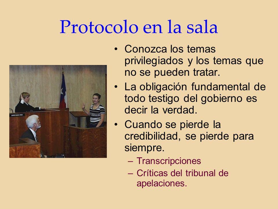 Protocolo en la sala Conozca los temas privilegiados y los temas que no se pueden tratar.