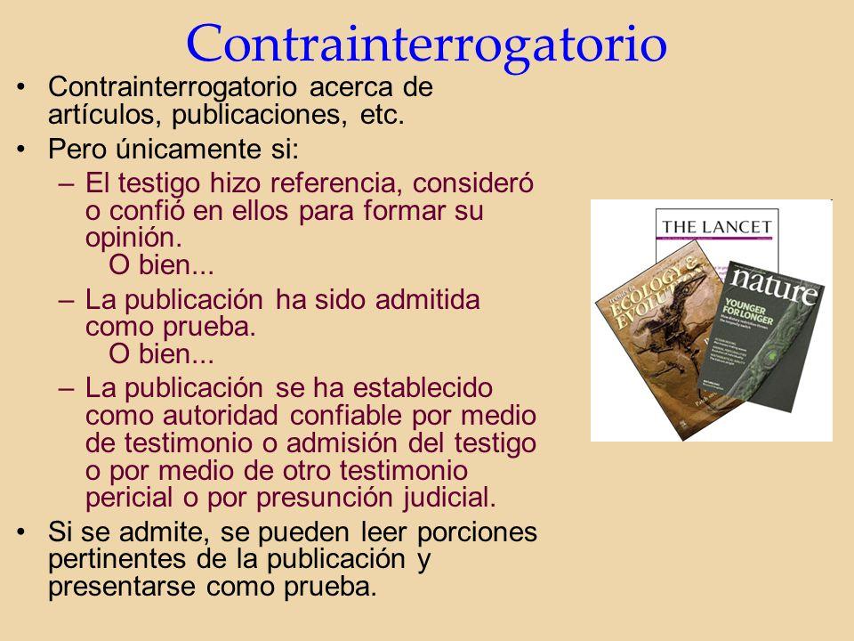 Contrainterrogatorio Contrainterrogatorio acerca de artículos, publicaciones, etc.