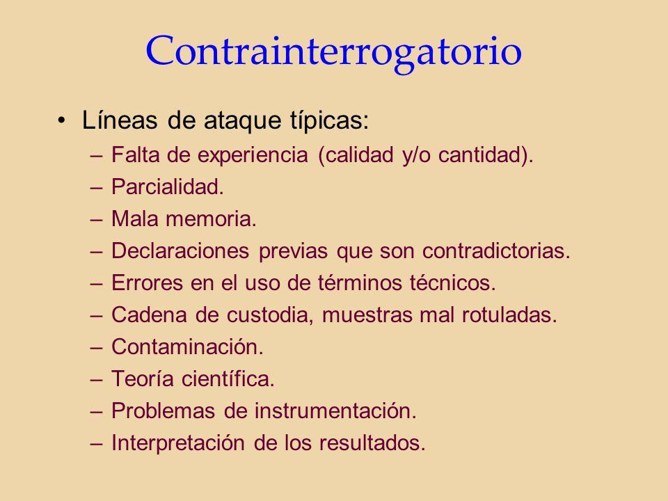 Contrainterrogatorio Líneas de ataque típicas: –Falta de experiencia (calidad y/o cantidad).