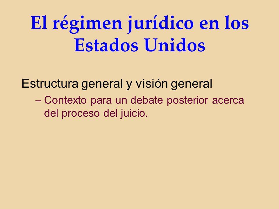 El régimen jurídico en los Estados Unidos Estructura general y visión general –Contexto para un debate posterior acerca del proceso del juicio.