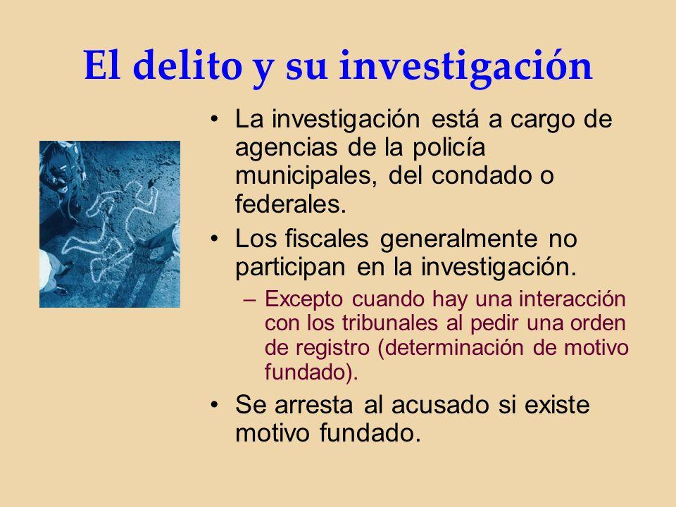 El delito y su investigación La investigación está a cargo de agencias de la policía municipales, del condado o federales.