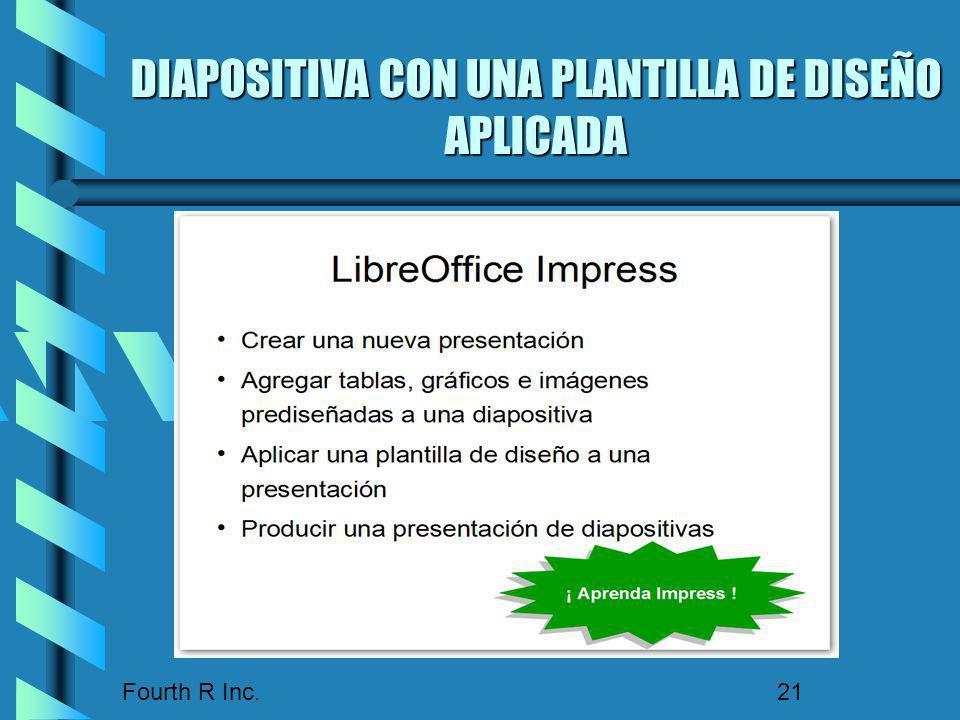 Fourth R Inc. 21 DIAPOSITIVA CON UNA PLANTILLA DE DISEÑO APLICADA