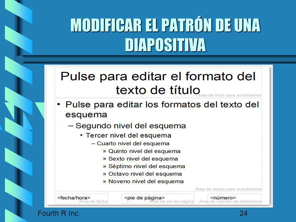 Fourth R Inc. 24 MODIFICAR EL PATRÓN DE UNA DIAPOSITIVA COMANDO VER, PATRÓN, PATRÓN DE DIAPOSITIVA COMANDO VER, PATRÓN, PATRÓN DE DIAPOSITIVA