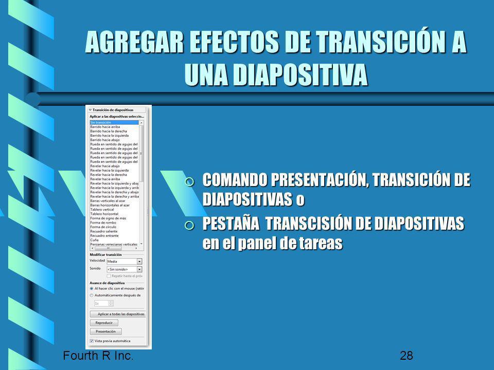 Fourth R Inc. 28 AGREGAR EFECTOS DE TRANSICIÓN A UNA DIAPOSITIVA COMANDO PRESENTACIÓN, TRANSICIÓN DE DIAPOSITIVAS o COMANDO PRESENTACIÓN, TRANSICIÓN D