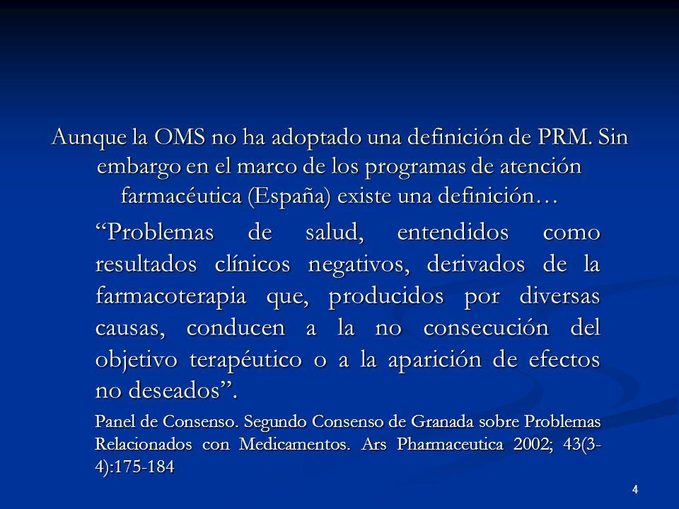4 Aunque la OMS no ha adoptado una definición de PRM.