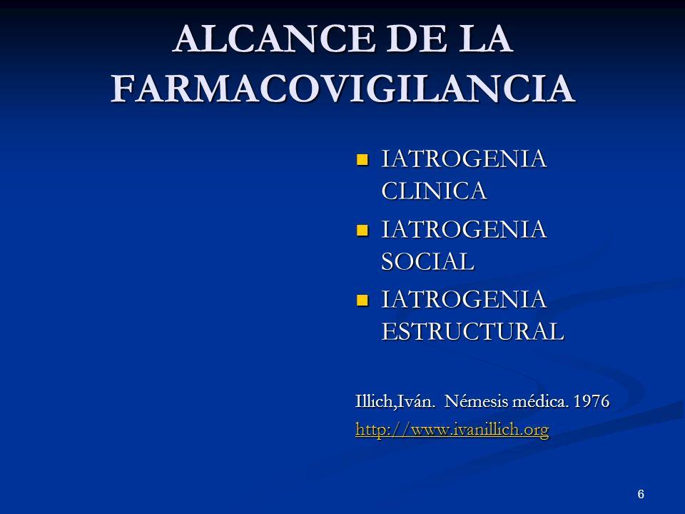 6 ALCANCE DE LA FARMACOVIGILANCIA IATROGENIA CLINICA IATROGENIA SOCIAL IATROGENIA ESTRUCTURAL Illich,Iván.