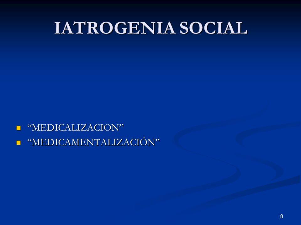 8 IATROGENIA SOCIAL MEDICALIZACION MEDICALIZACION MEDICAMENTALIZACIÓN MEDICAMENTALIZACIÓN