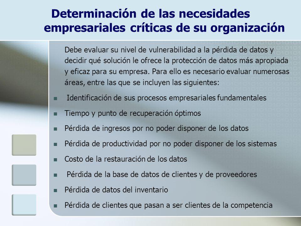 Determinación de las necesidades empresariales críticas de su organización Debe evaluar su nivel de vulnerabilidad a la pérdida de datos y decidir qué solución le ofrece la protección de datos más apropiada y eficaz para su empresa.