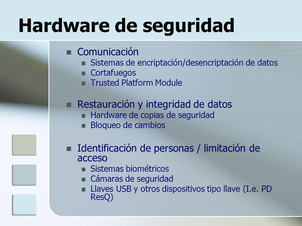 Hardware de seguridad Comunicación Sistemas de encriptación/desencriptación de datos Cortafuegos Trusted Platform Module Restauración y integridad de datos Hardware de copias de seguridad Bloqueo de cambios Identificación de personas / limitación de acceso Sistemas biométricos Cámaras de seguridad Llaves USB y otros dispositivos tipo llave (I.e.