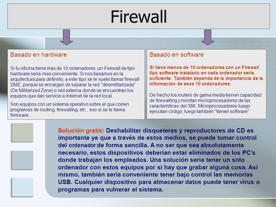 Firewall Solución gratis: Deshabilitar disqueteras y reproductores de CD es importante ya que a través de estos medios, se puede tomar control del ordenador de forma sencilla.