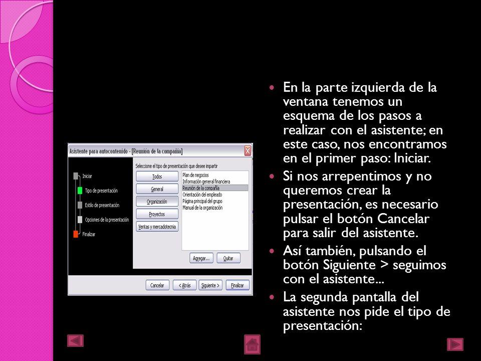 Una vez elegida la opción Del asistente para contenido, aparecerá una ventana como la que mostramos a continuación.