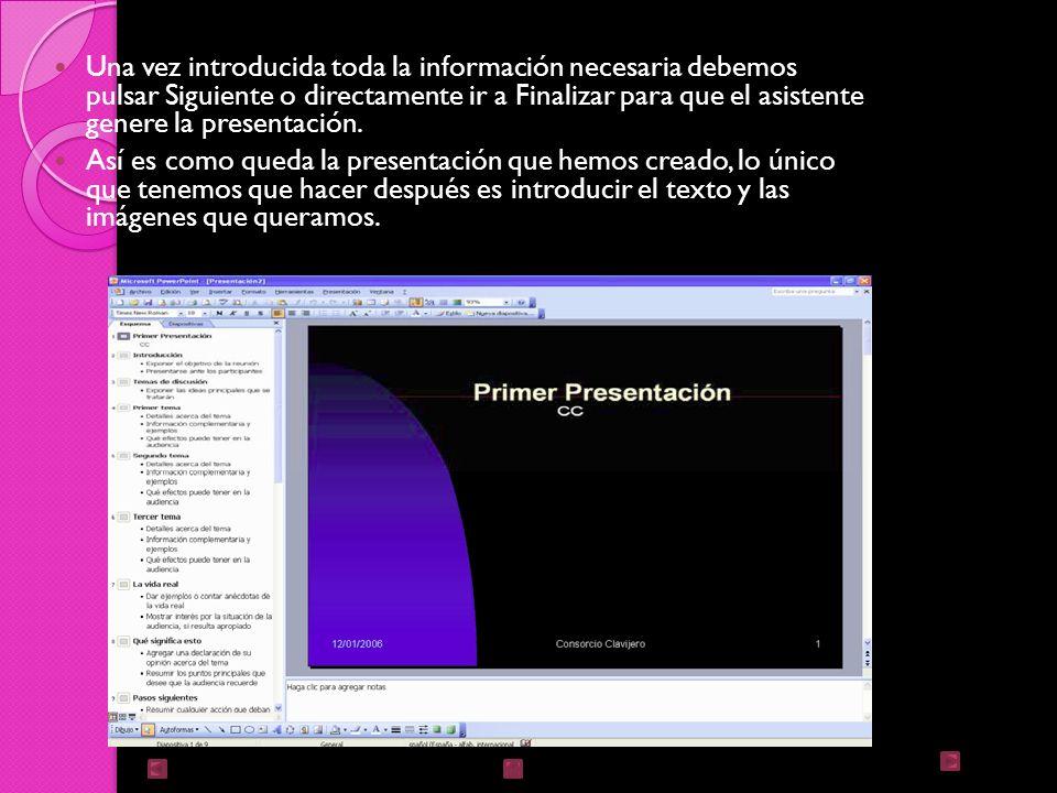 En el último paso: Opciones de presentación, se nos pide que indiquemos el título de nuestra presentación y también el texto que queremos que aparezca en cada diapositiva; incluso, podemos activar la casilla de número de diapositiva para que en el pie de cada una aparezca su número.