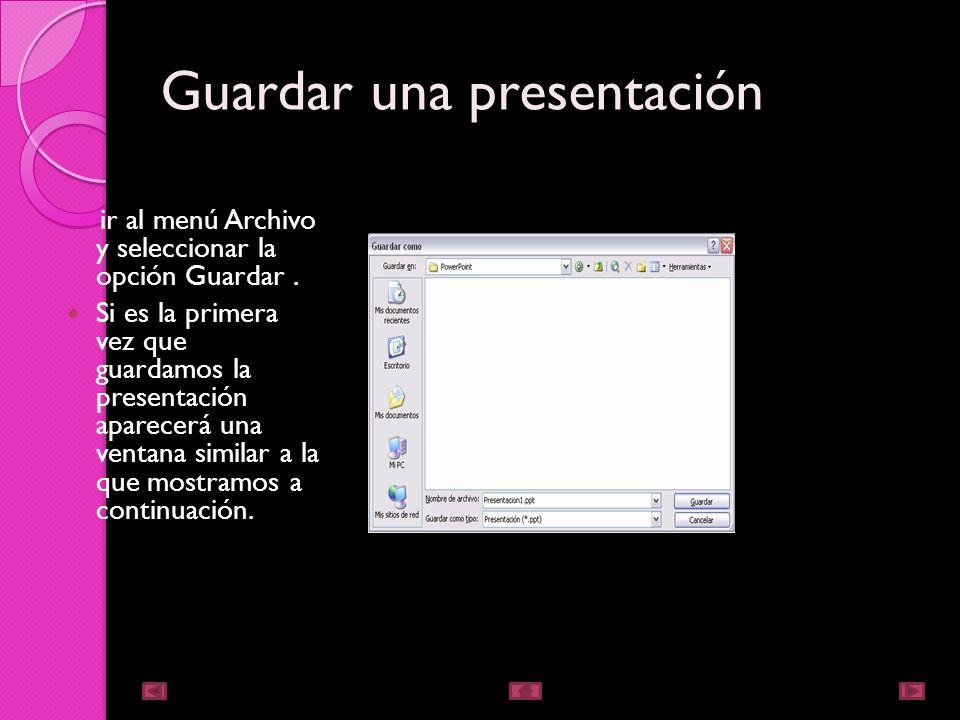 Crear una presentación en blanco En el Panel de tareas de la sección Nuevo seleccione la opción Presentación en blanco.