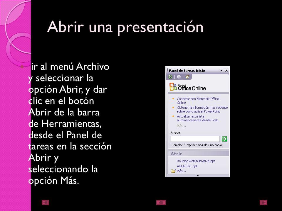 Guardar una presentación como pagina web Para guardar una presentación como página web y así poder verla con un navegador, despliegue del menú Archivo