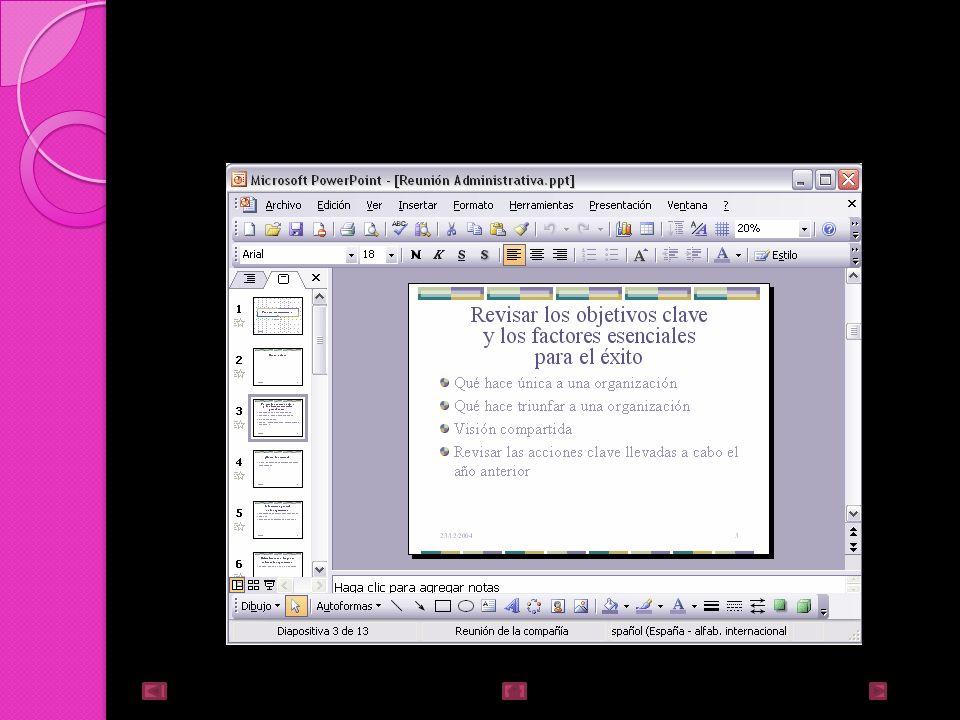 Tipos de vistas Vista Normal La vista normal es la que se utiliza para trabajar habitualmente con ella podemos ver, diseñar y modificar la diapositiva