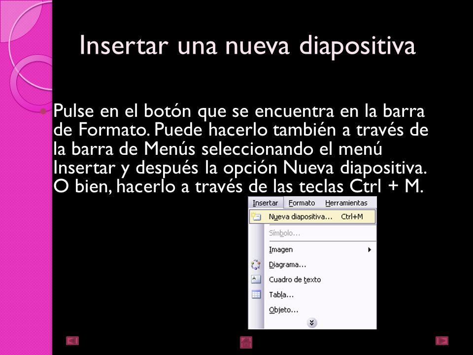 Trabajar con diapositivas Cuando creamos una presentación podemos después modificarla, insertando, eliminando, copiando diapositivas, etc. A continuac
