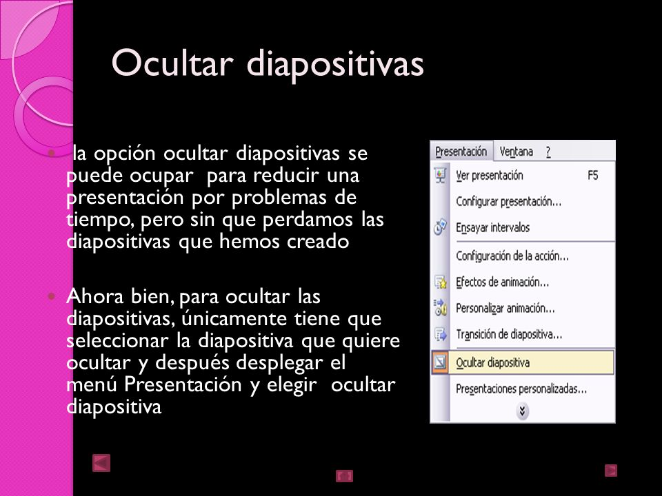 Animar textos y objetos Primero seleccionarlo Desplegar el menú presentación y seleccionar personalizar animación Después aparecerá una ventana en la cual se muestran todos los efectos Con el botón reproducir muestra la diapositiva tal y como quedara