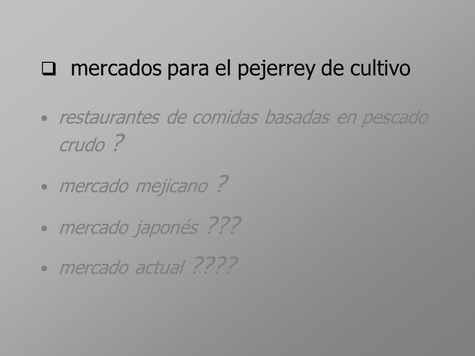 mercados para el pejerrey de cultivo restaurantes de comidas basadas en pescado crudo ? mercado mejicano ? mercado japonés ??? mercado actual ????