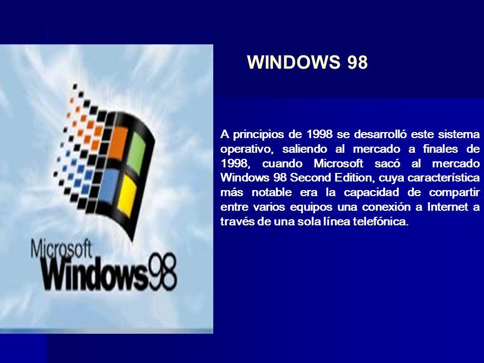A principios de 1998 se desarrolló este sistema operativo, saliendo al mercado a finales de 1998, cuando Microsoft sacó al mercado Windows 98 Second E