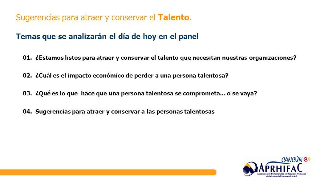 Sugerencias para atraer y conservar el Talento. Temas que se analizarán el día de hoy en el panel 01. ¿Estamos listos para atraer y conservar el talen