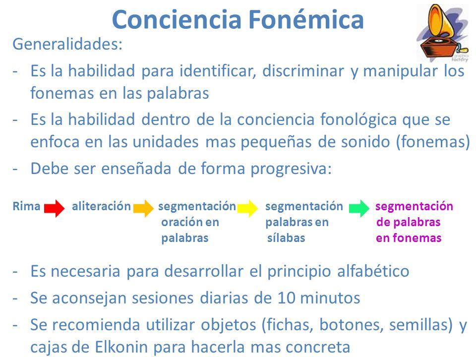 Conciencia Fonémica Generalidades: -Es la habilidad para identificar, discriminar y manipular los fonemas en las palabras -Es la habilidad dentro de la conciencia fonológica que se enfoca en las unidades mas pequeñas de sonido (fonemas) -Debe ser enseñada de forma progresiva: Rima aliteración segmentación segmentación segmentación oración en palabras en de palabras palabras sílabas en fonemas -Es necesaria para desarrollar el principio alfabético -Se aconsejan sesiones diarias de 10 minutos -Se recomienda utilizar objetos (fichas, botones, semillas) y cajas de Elkonin para hacerla mas concreta