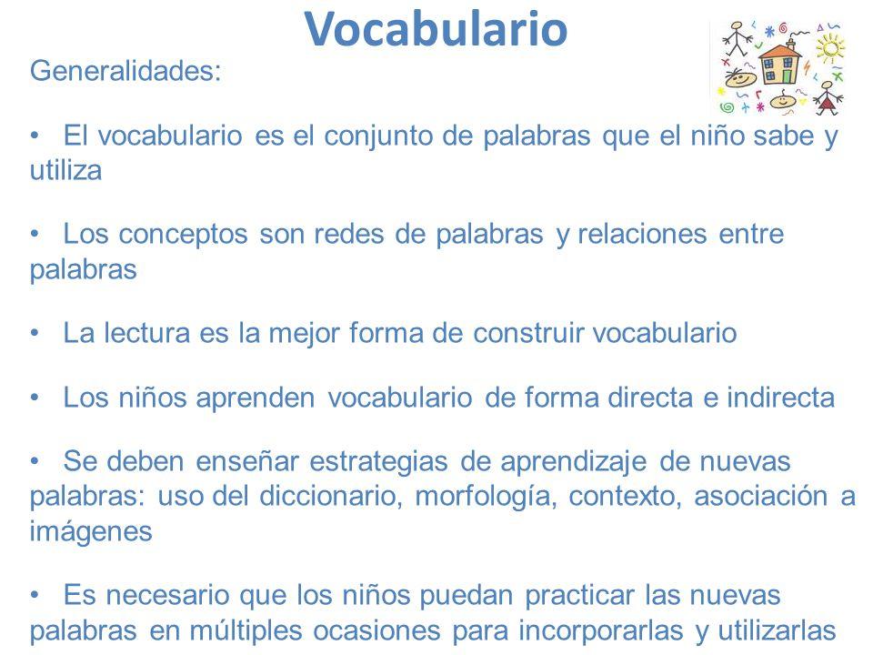 Vocabulario Generalidades: El vocabulario es el conjunto de palabras que el niño sabe y utiliza Los conceptos son redes de palabras y relaciones entre