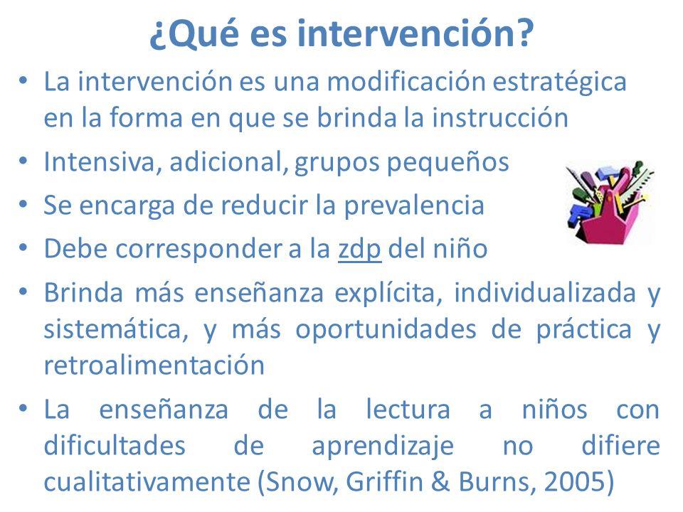 ¿Qué es intervención? La intervención es una modificación estratégica en la forma en que se brinda la instrucción Intensiva, adicional, grupos pequeño