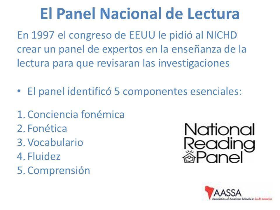 El Panel Nacional de Lectura En 1997 el congreso de EEUU le pidió al NICHD crear un panel de expertos en la enseñanza de la lectura para que revisaran