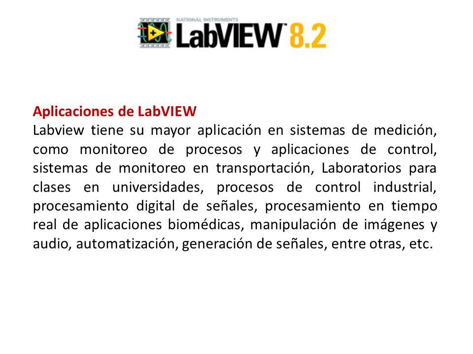 Aplicaciones de LabVIEW Labview tiene su mayor aplicación en sistemas de medición, como monitoreo de procesos y aplicaciones de control, sistemas de m