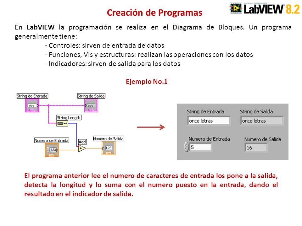 Creación de Programas En LabVIEW la programación se realiza en el Diagrama de Bloques. Un programa generalmente tiene: - Controles: sirven de entrada